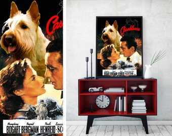 Scottish Terrier Art Vintage Movie Style Poster Canvas Print - Casablanca  Perfect DOG LOVER GIFT Gift for Her Gift for Him Home Decor
