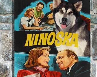 Alaskan Malamute Art Ninotchka Movie Poster Print, Vintage Collage Art on Canvas, Dog Gifts by Nobility Dogs