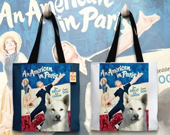 Canaan Dog Art Tote Bag   An American in Paris Movie Poster by Nobility Dogs