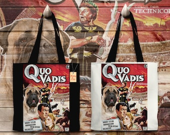 Bullmastiff Art Tote Bag   Quo Vadis Movie Poster by Nobility Dogs