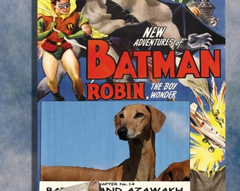 Azawakh Dog Poster Batman and Robin Movie Print Dog Portrait from Photo best selling Home Wall Art Decor Gift for Her Gift for Him