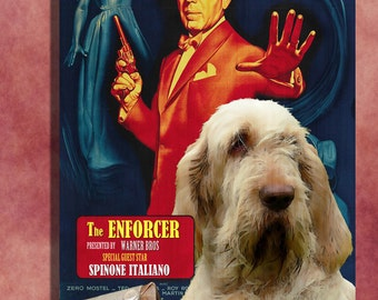 Italian Spinone Vintage Movie Style Poster Canvas Print  - The Enforcer  Perfect DOG LOVER GIFT Gift for Her Gift for Him Home Decor