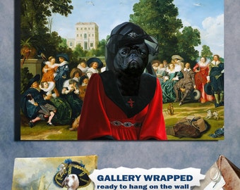 Black Pug Art Print Canvas Dog Lover  Gifts by Nobility Dog
