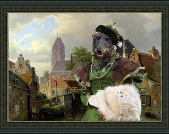 "Scottish Deerhound Art ""View of Oudewater"" Canvas Print by Nobility Dog"