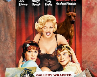 Miniature Pinscher  Vintage Movie Style Poster Canvas Print - Some Like It Hot   Perfect DOG LOVER GIFT Gift for Her Gift for Him Home Decor
