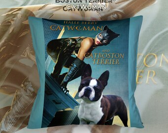 Boston Terrier Art Pillow Case Throw Pillow - Cat Woman Movie Poster  Perfect DOG LOVER Gift for Her Gift for Him