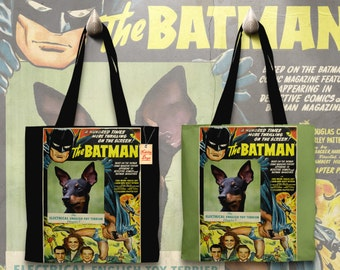 English Toy Terrier Art Tote Bag   BATMAN Movie Poster by Nobility Dogs