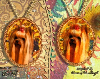 Yorkshire Terrier Jewelry Pendant - Brooch Handcrafted Porcelain by Nobility Dogs - Gustav Klimt and Van Gogh