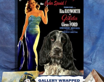 English Cocker Spaniel Print Fine Art Canvas   Gilda Movie Poster   Perfect DOG LOVER GIFT Gift for Her Gift for Him Home Decor