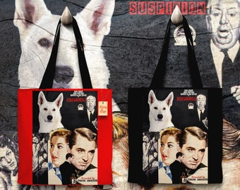 White Shepherd Art Tote Bag - Suspicion Movie Poster   Perfect DOG LOVER Gift for Her Gift for Him