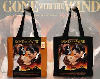 Boxer Dog Art Tote Bag   Gone with the Wind Movie Poster by Nobility Dogs