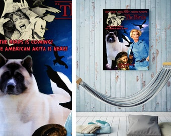 American Akita Art Akita Dog The Birds Vintage Style Movie Poster Giclee Print  or Gallery wrapped Canvas Gift for Her Gift For Him