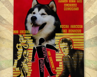 Alaskan Malamute Art Anatomy of a murder Vintage Style Movie Poster Giclee Print  or Canvas Print Wall Art Gift for Her Gift For Him