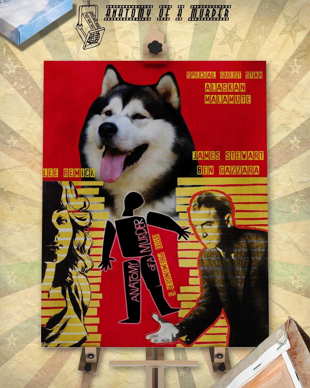 Alaskan Malamute Art Anatomy of a murder Vintage Style Movie