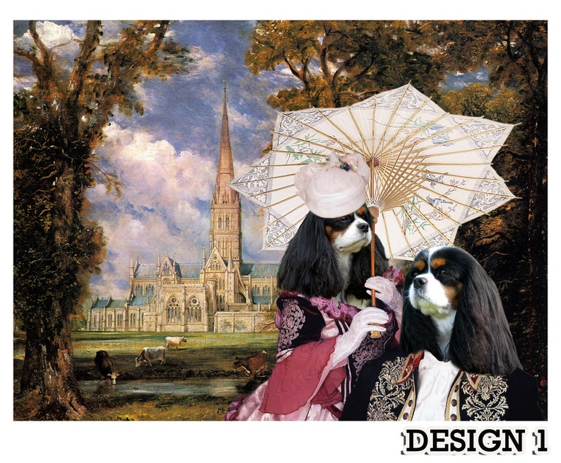 Tri Color Cavalier King Charles Spaniel Portrait in Masterpiece Painting CANVAS Print Prince Charles Dog  Nobility DogsGifts