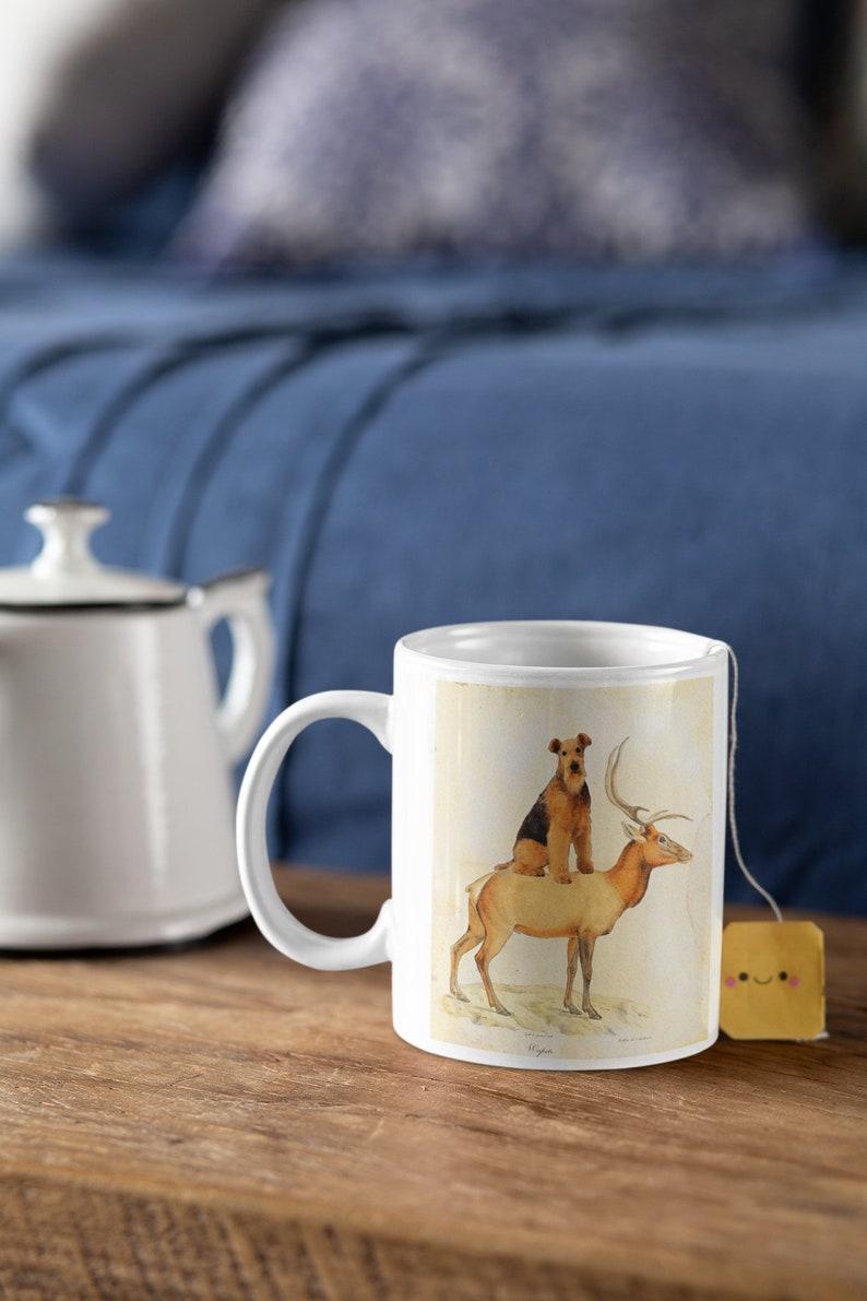 Airedale Terrier dog riding elk wapiti Art Vintage Print Ad Dog Mom /& Dad gifts CANVAS Print, Fine Art Print, Mug, Pillow, Tote Bag
