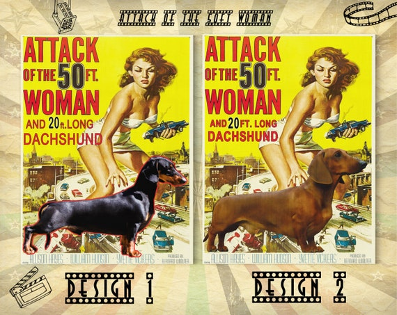 Art Of 50 Dog The Movie Foot Dachshund Doxie Poster And Gratuit Woman Red Black Personalized Wiener Gifts Dach Print Attack mNn0wOv8