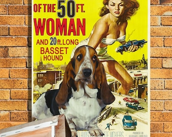 Basset Hound Vintage Movie Style Poster Canvas Print  - Attack of the 50 Foot Woman Movie Poster  by Nobility ...