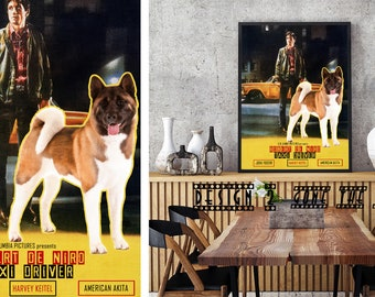 American Akita Art Akita Dog Taxi Driver Vintage Style Movie Poster Giclee Print  or Gallery wrapped Canvas Gift for Her Gift For Him
