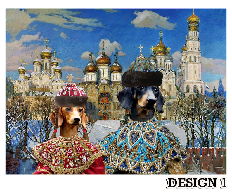 Red and Black Dachshund Art CANVAS Portrait in Masterpiece Painting Print Custom Dog Portrait Wiener Dog  Gifts  royal pet portrait