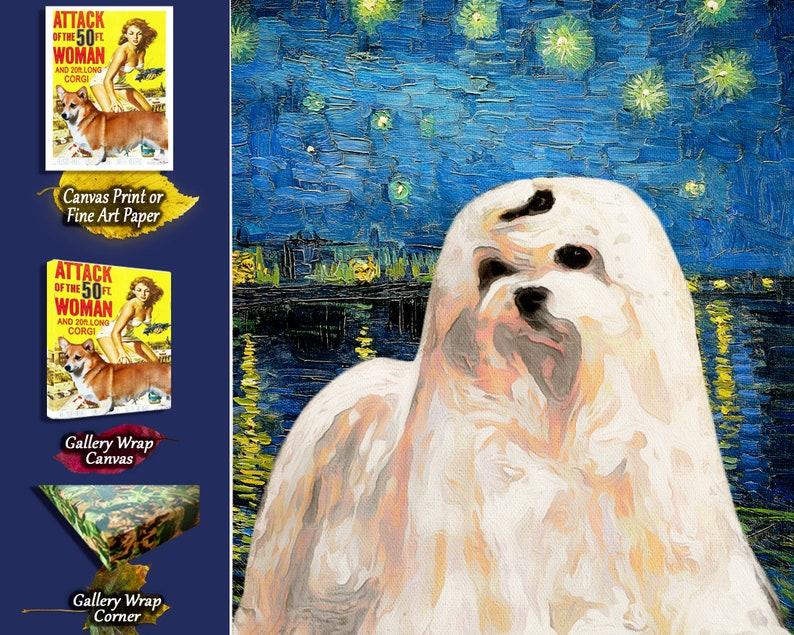 20x15 16x12 24x18 by Nobility Dogs Coton de Tulear Starry night Art Van Gogh CANVAS Print Coton de Tulear Gifts choose size 8x6 12x9