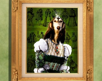 Saluki Art Print 11 x 14 inch original illustration artwork giclee archival premium poster print By Nobility Dogs