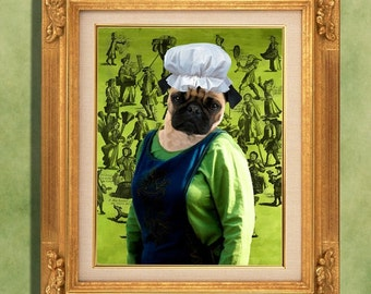 Pug Art Print 11 x 14 inch original illustration artwork giclee archival premium poster print By Nobility Dogs