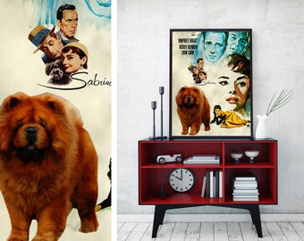 Chow Chow Dog Art Sabrina Vintage Movie Poster Giclee Print  or Gallery wrapped Canvas ready to hang on the wall Gift for Her Gift For Him