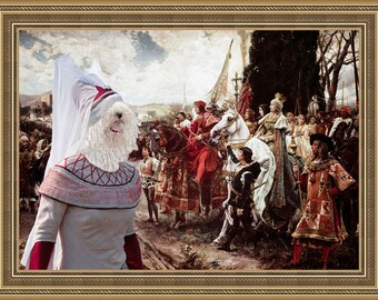 Hungarian Puli Dog Art Greeting for the Queen Hungarian White Puli Painting Gift home decor print dog costume with hat portrait from photo