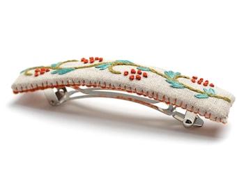 Berry vine Barrette kit, DIY embroidery, Embroidered barrette kit, DIY hair accessory, barrette, french clip barrette, Berry vine