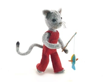 Calvin Cat hand-stitching kit, cat sewing kit, felt cat, cat doll