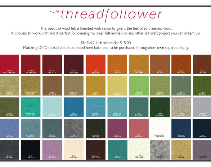 6 sheets 9x12 Wool felt, wool and rayon felt, felt sheets, craft felt, craft supplies