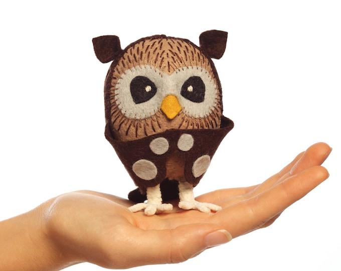 Owl kit, Felt Animal Craft Kit - owl Sewing Kit - hand-sewing kit, plush owl, beginner sewing kit, DIY sewing, kids craft kits