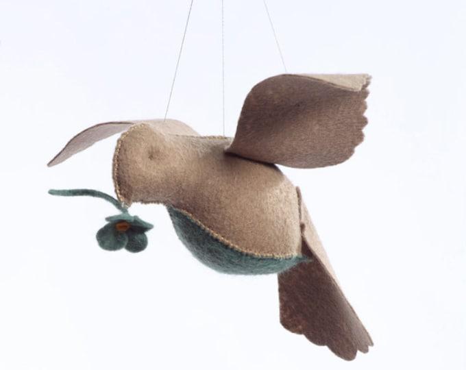 Beige/teal bird in flight kit, felt kit, sewing kit, crafts for kids, beginner sewing kit, bird ornament kit, hand sewing kit