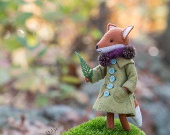 Fox coat PDF pattern, felt coat pattern, miniature clothing, doll coat pattern, DIY felt, DIY doll clothing