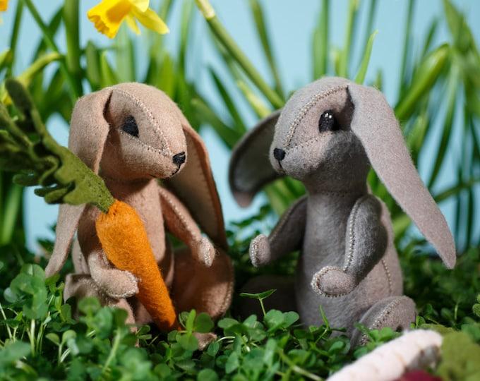 Spring Rabbit Powerpoint tutorial E-book and pattern, rabbit pattern, DIY rabbit, bunny, Easter, hand-sewing, felt plush,