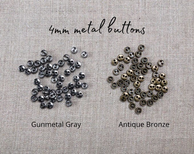4mm buttons, metal buttons, metal two hole buttons, miniature buttons, Doll buttons