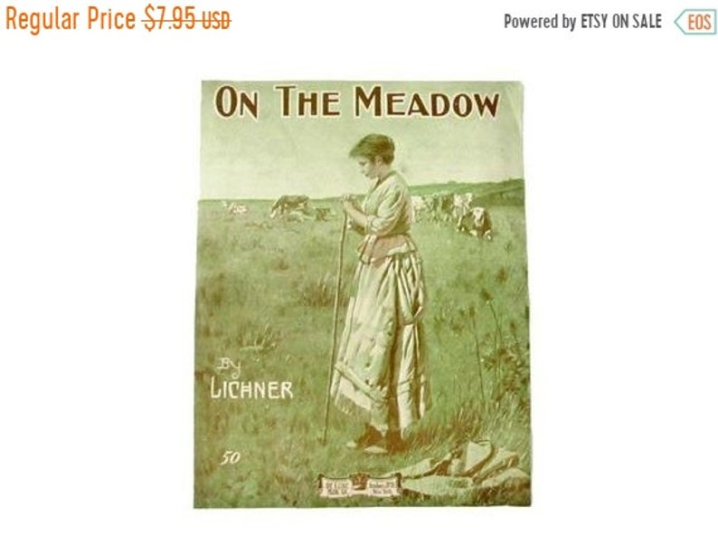 ON SALE ON The Meadow Antique Sheet Music Heinrich Lichner Light Green  Large Format 14 x 11 Plains Lady & Cows in Meadow Auf Der Wiese Cow P