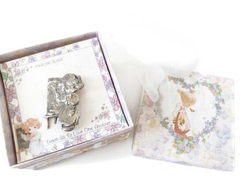 Precious Moments Pin Teach Us To Love One Another Sterling Silver Brooch Cute Gift MIB Mint in Box Vintage 1980's Real STERLING Genuine