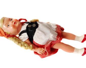 "Edi Puppen Celluloid Doll Edi Germany Erich Dittmann 4.5"" Small Doll Blonde Braided Hair Edi Puppets International Costume Doll of the World"