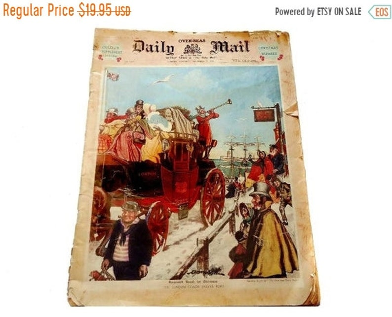 ON SALE Overseas Daily Mail London Newspaper November 28 1936 Annison Cover  Art DICKENS Christmas Scene Norman Wilkinson Belfast Lough