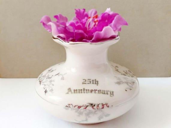 25th Anniversary Silver Gilt Short Bud Vase By Elynor China