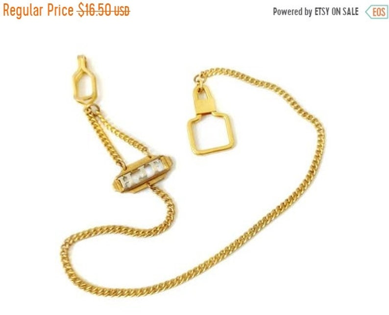 ON SALE Men's Keychain Belt Clip Chain for Keys Gold Tone Initials HJF  Monogram Gold Filled [?] Gf ? Long Link Chain Use for Pocket Watch Ch