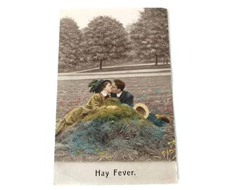 Hay Fever Postcard Edwardian Lovers Kissing Hay Pile Undivided Back Humorous Antique Postcard Bamforth 1912 Pittsburgh PA to Youngstown OH