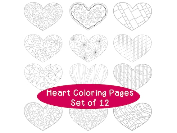 Heart Valentine\'s Day Printable Coloring Pages PDF, Set of Twelve