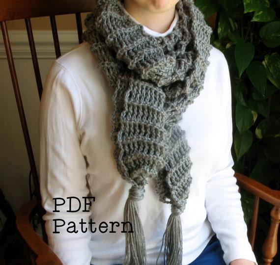 Cozy Crochet Fringe Scarf Pattern Pdf Digital Scarf Easy Etsy