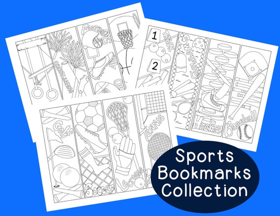 Sports Bookmarks Pdf Printable Coloring Page Activity Soccer Etsy