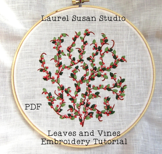 Leaves And Vines Hand Embroidery Tutorial Pattern Pdf Etsy