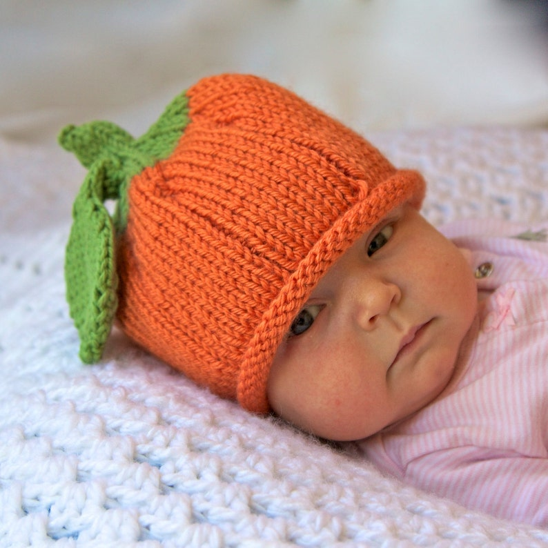 ac1bb90226251 Pumpkin Knitted Baby Hat Infant Toddler Child sizes Fall