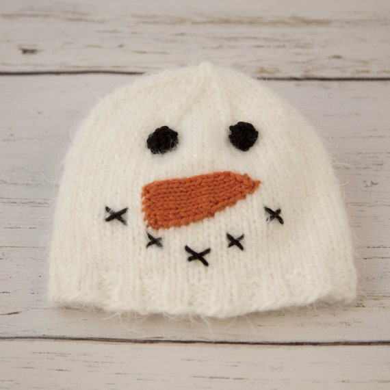 Snowman knitted hat Infant Baby sizes Warm Winter Handmade  6403414de40